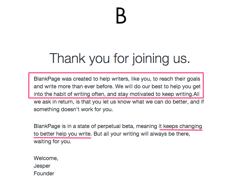 BlankPage purpose-driven welcome email