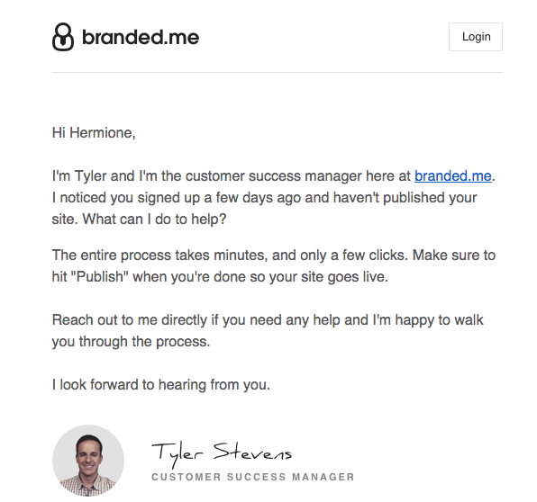 branded.me personal offer of help emails