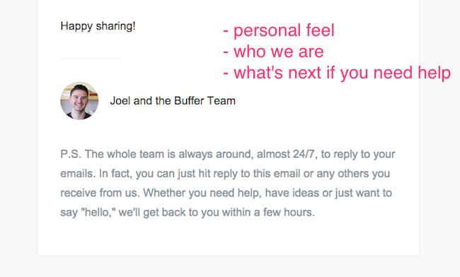 Buffer welcome email part 2
