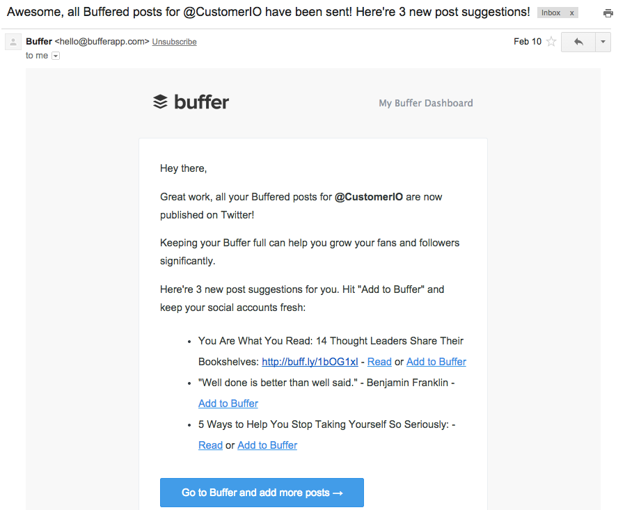 Buffer nudge email to refill buffer queue