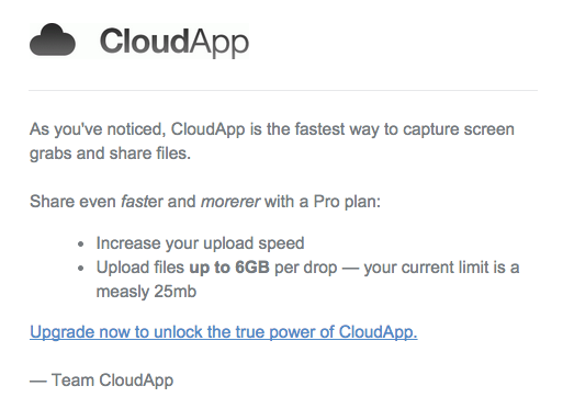 CloudApp upgrade email benefits