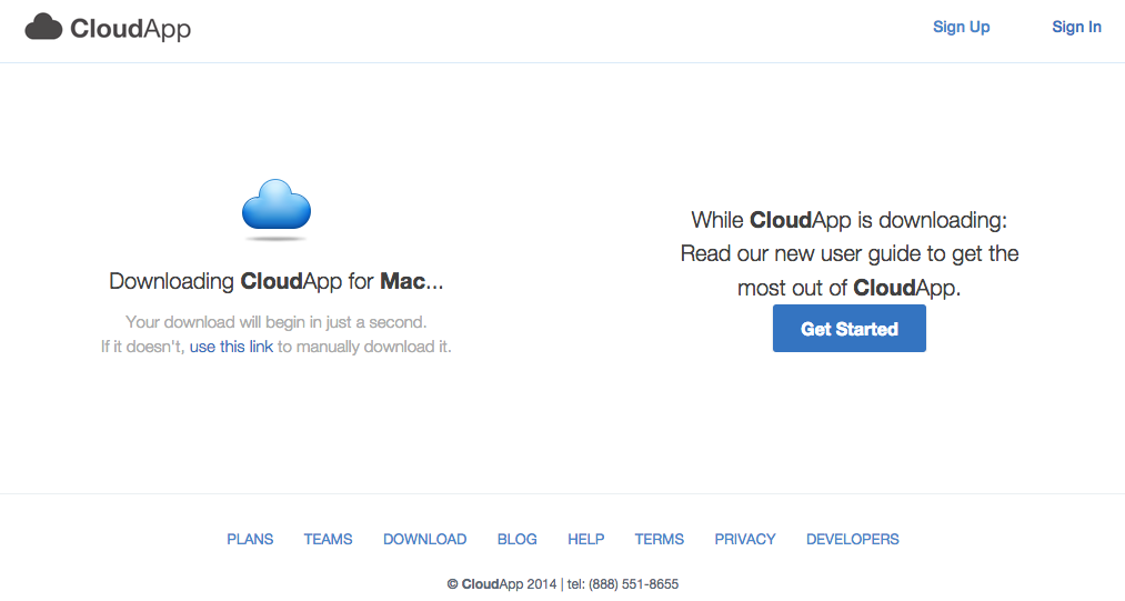 CloudApp activation screen