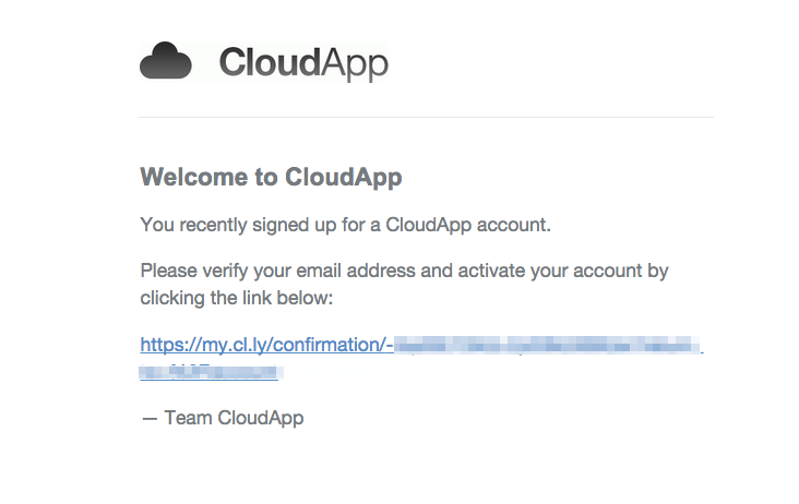CloudApp welcome verification email