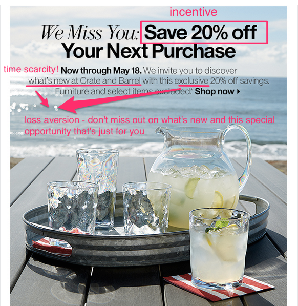 Crate & Barrel winback email example