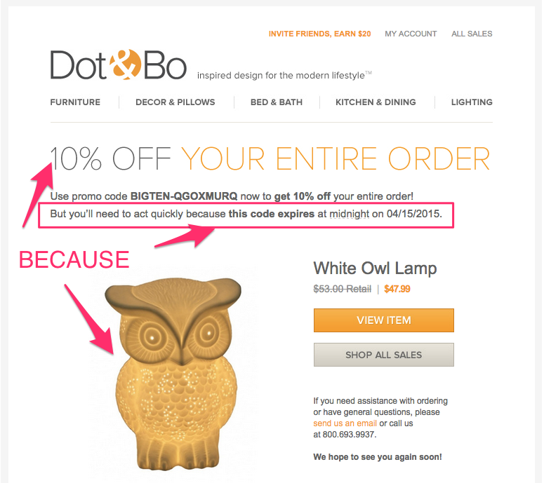 "Dot & Bo ""because"" marketing email"