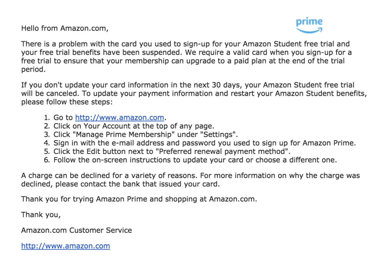 dunning email example Amazon