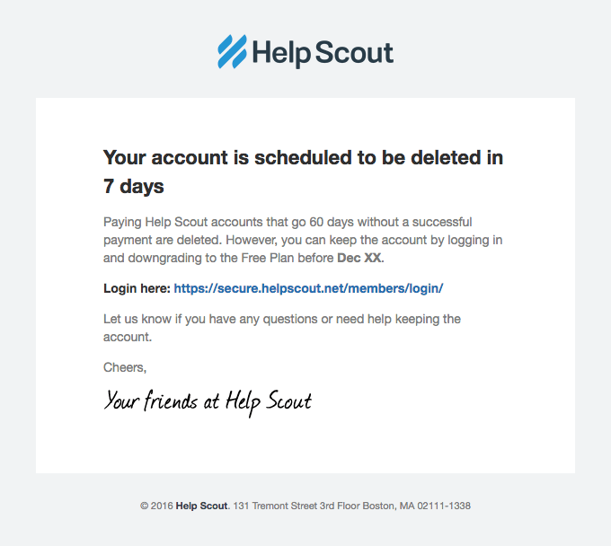 dunning email example Help Scout