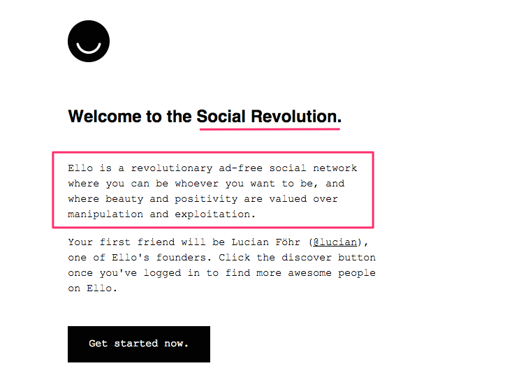 Ello purpose-driven welcome email