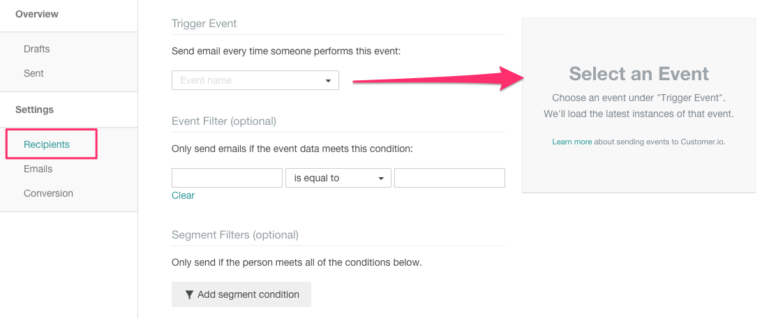 Customer.io event selector for triggered campaigns