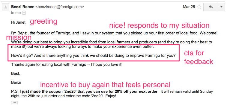 Farmigo personal welcome email