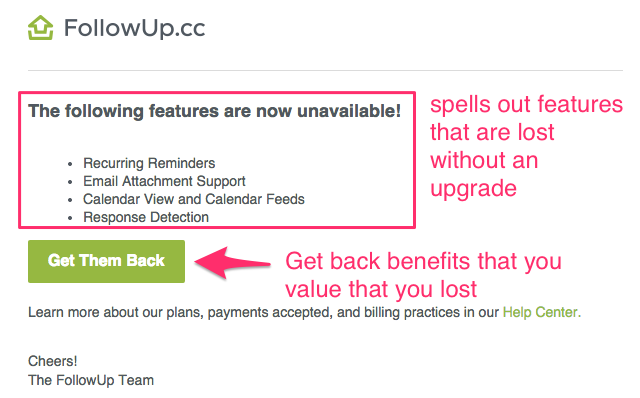 followup.cc upgrade email loss aversion example
