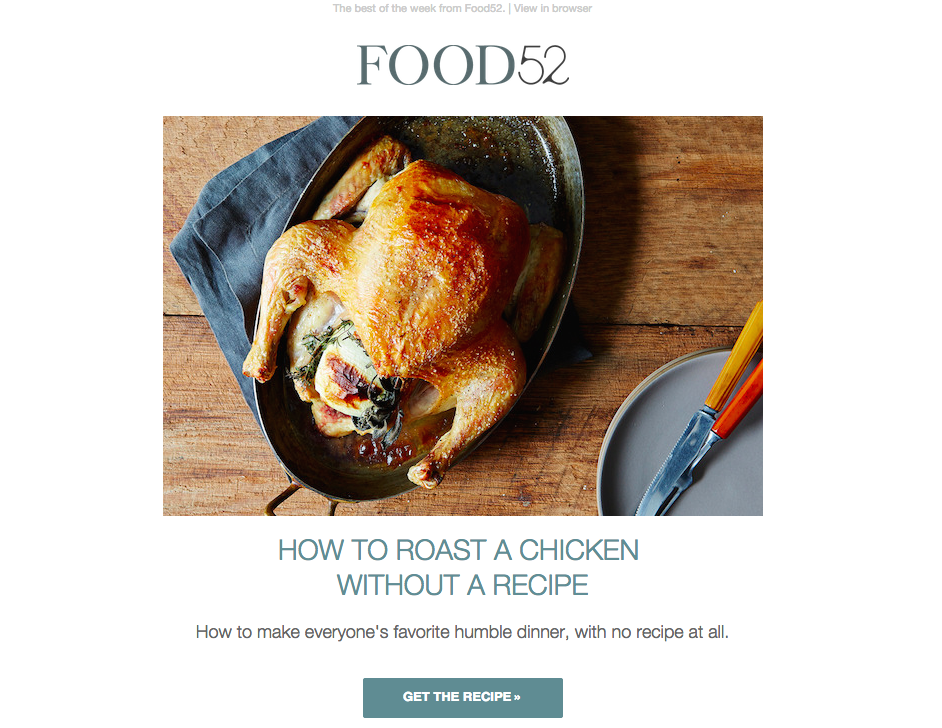 food52 email aesthetics example