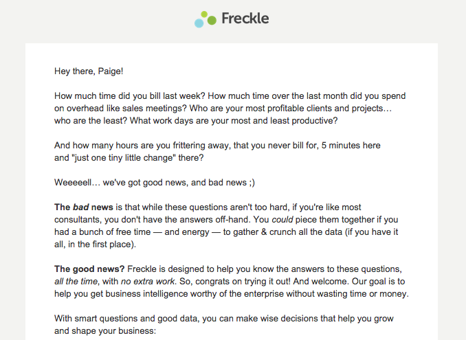 Freckle email