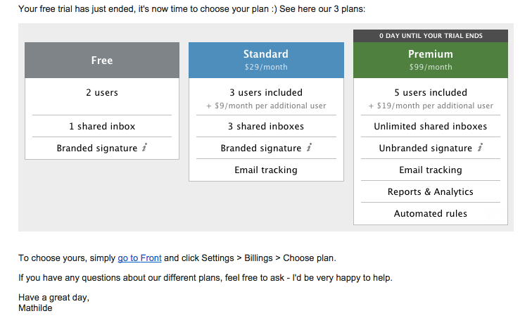 Frontapp upgrade email with pricing plan image