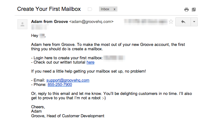 Groove's old product-focused welcome email