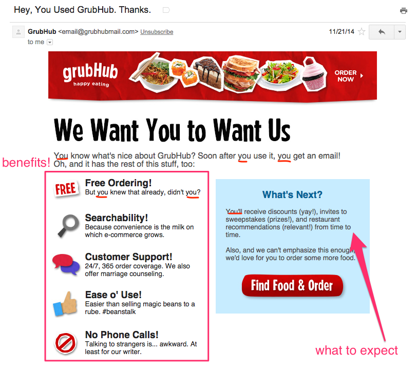 Grubhub welcome email