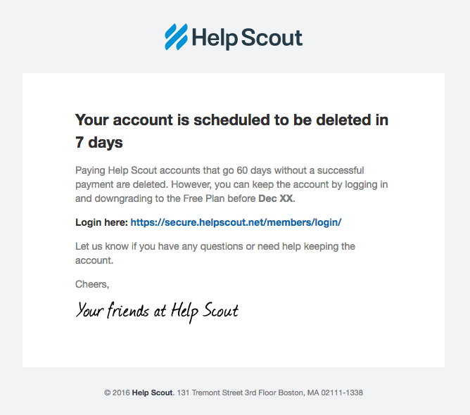 Helpscout dunning transactional email marketing example