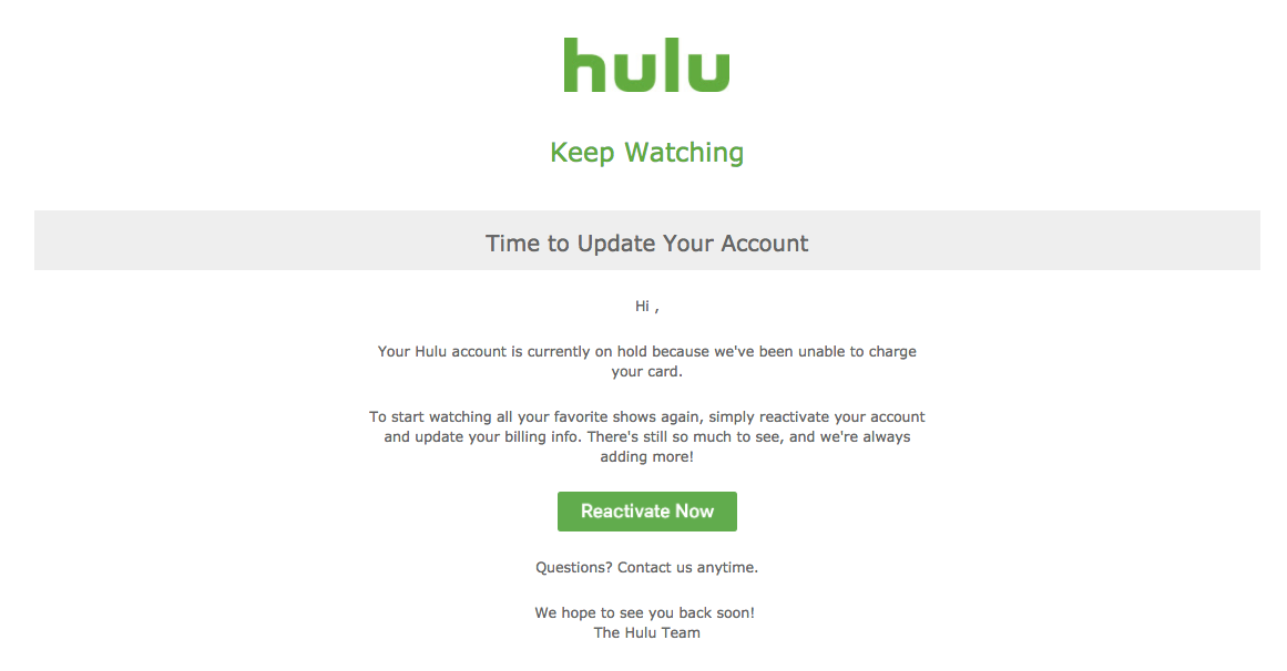 dunning email strategy Hulu