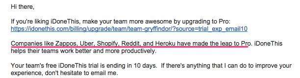 iDoneThis upgrade email