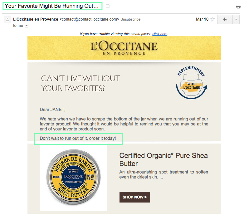 L'Occitane scarcity email
