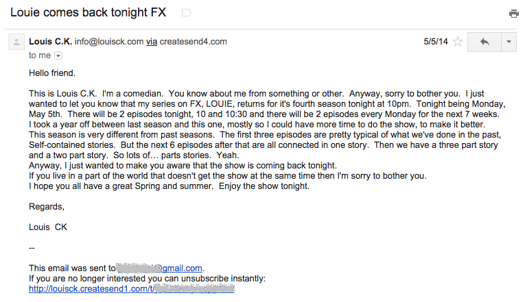 Louis CK marketing email example