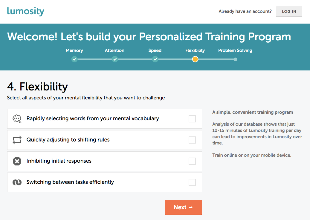 Lumosity signup survey screen