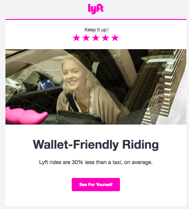 Lyft activation email uses data as proof