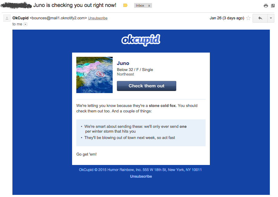 OkCupid email senses example