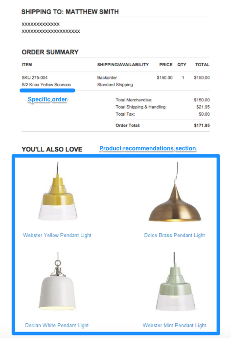 order confirmation email Crate & Barrel