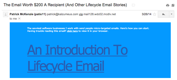 "Subject line: ""The Email Worth $200 A Recipient (And Other Lifecycle Email Stories"