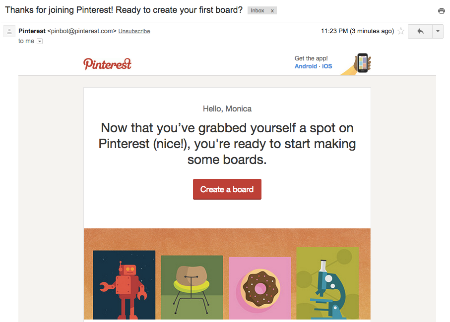 1 of 3 Pinterest welcome emails