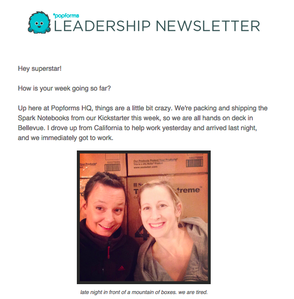 Popforms newsletter example