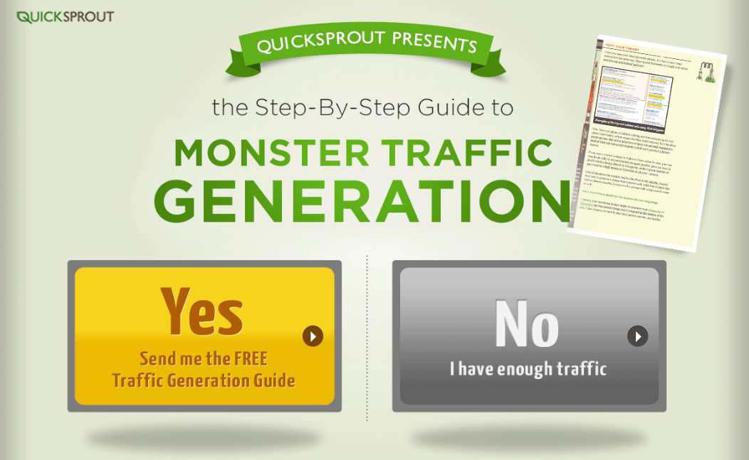 "Choice between ""Yes, send me the free traffic generation guide"" and ""No I have enough traffic"""