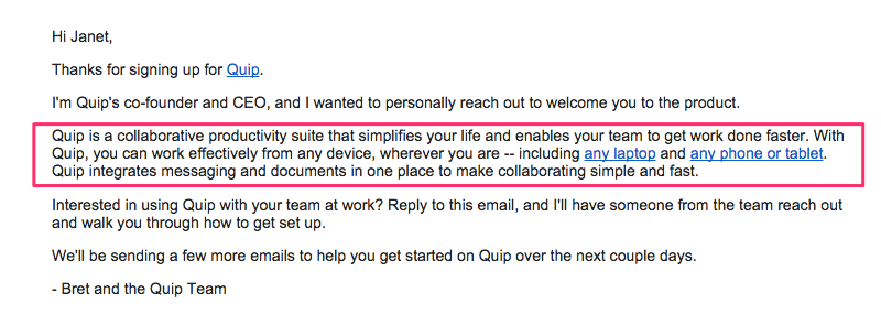 Quip purpose-driven email