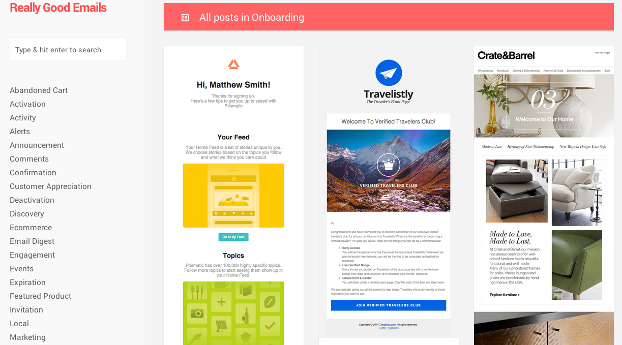 Really Good Emails filtered by onboarding tag