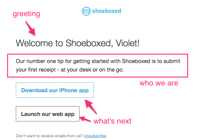 Shoeboxed welcome email
