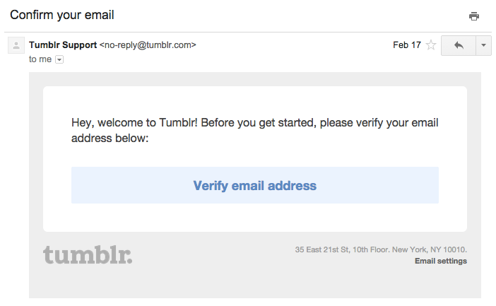 Tumblr email verification