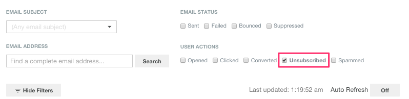 Choosing unsubscribe as log filter