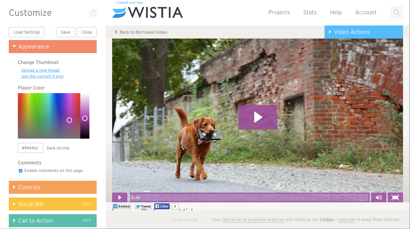 Customizing borrowed video on Wistia