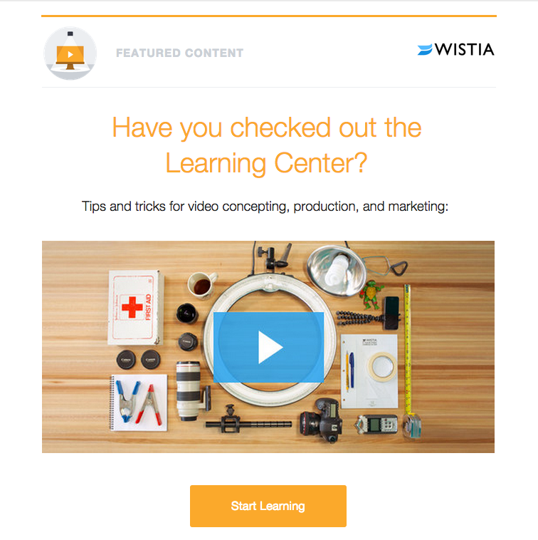 Wistia email for learning center video