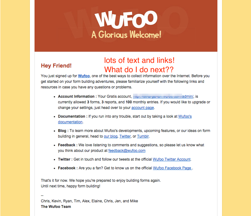 Wufoo old welcome email