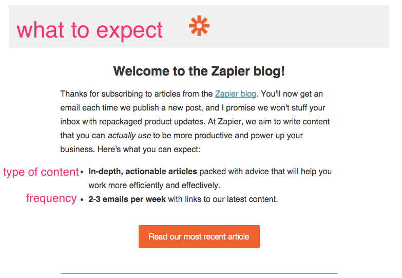 welcome emails example zapier