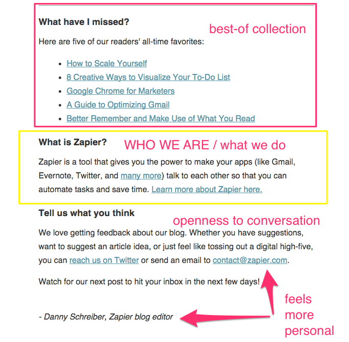 zapier welcome email part 2
