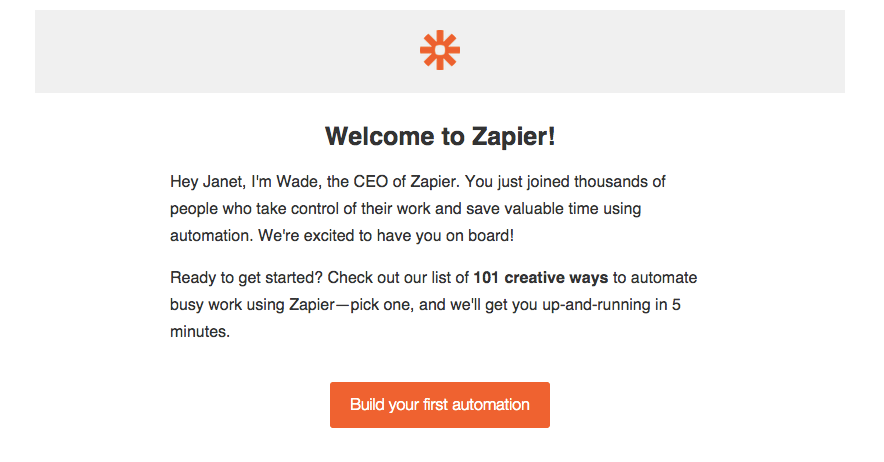Zapier welcome email