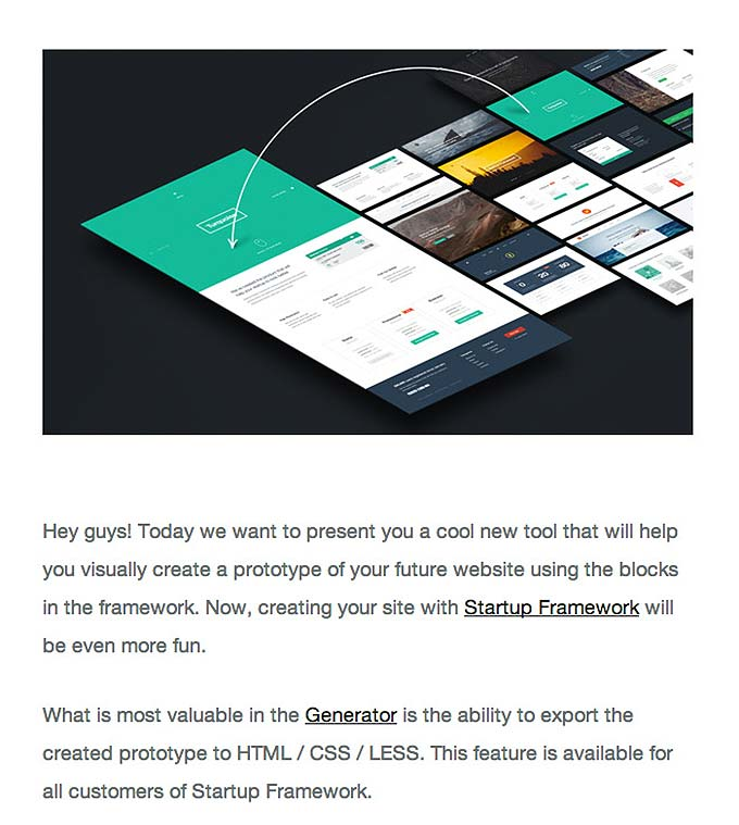 Generator education highlights email onboarding example