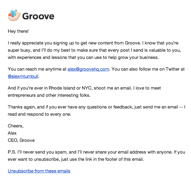 The email you receive from Groove's newsletter