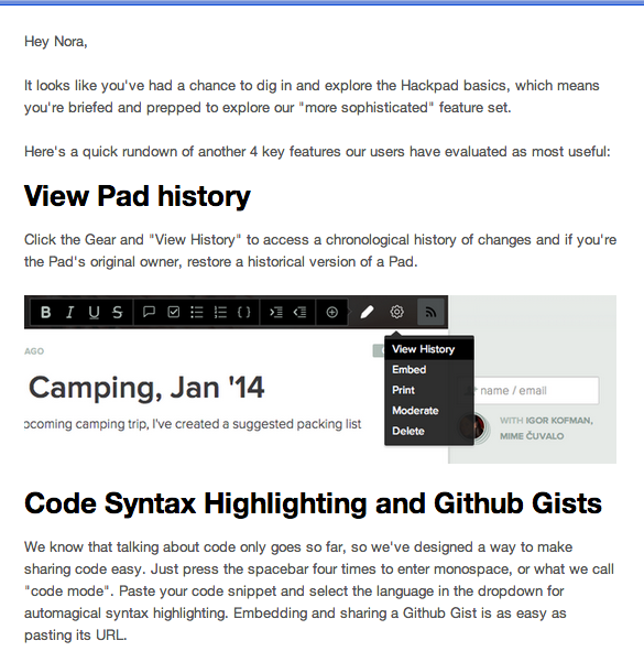 Hackpad email positive reinforcement onboarding example