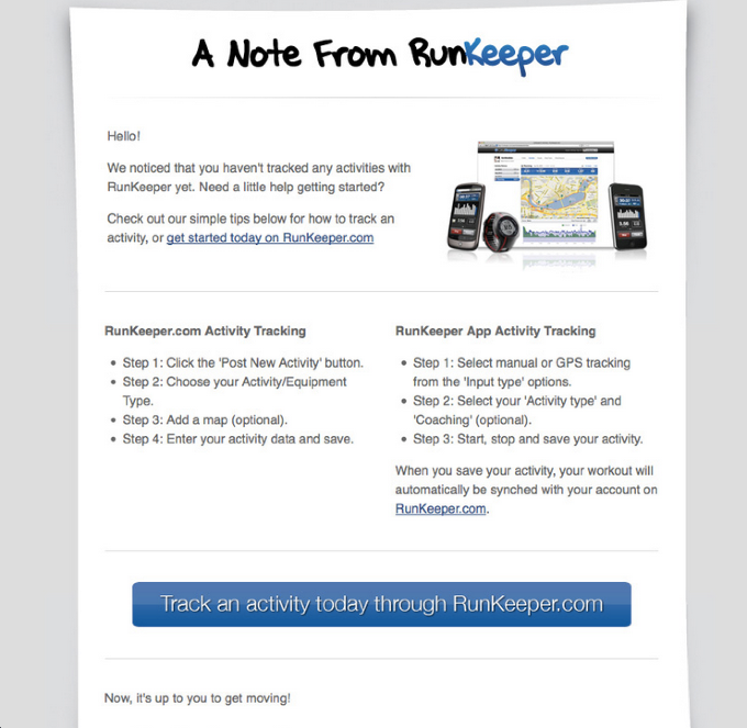 Runkeeper single CTA call to action example email