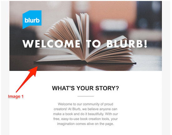 Blurb welcome email header