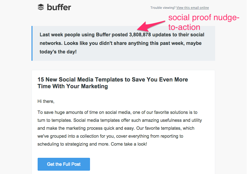 Buffer weekly email campaign